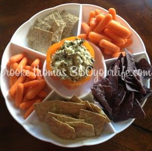 Creamy Cado Dip in Orange Pepper with carrots and chips