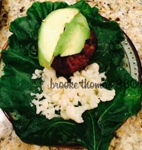 Cool Collard Summer Burgers - burger w cauliflower rice on collard